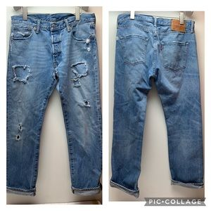 Levi's 501 button fly 34 X 30 distressed